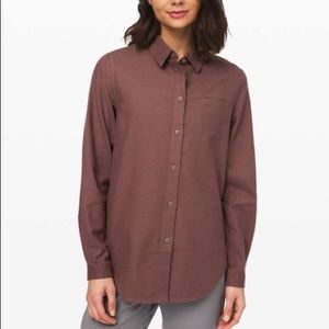 Lululemon Full Day Ahead Shirt Antique Bark W3DD9S